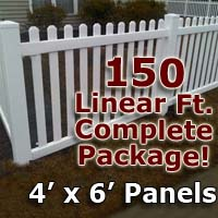 "150 ft Complete Solid PVC Vinyl Open Top Picket Fencing Package - 4' x 6' Fence Panels w/ 3"" Spacing"