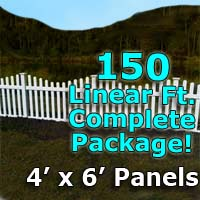 "150 ft Complete Solid PVC Vinyl Open Top Scallop Picket Fencing Package - 4' x 6' Fence Panels w/ 3"" Spacing"