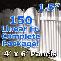 "150 ft Complete Solid PVC Vinyl Open Top Arch Picket Fencing Package - 4' x 6' Fence Panels w/ 1.5"" Spacing"