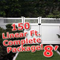 150 ft Complete Solid PVC Vinyl Privacy 8' Wide Fencing Package w/ Accent Top