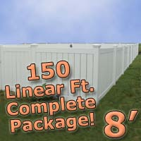 150 ft Complete Solid PVC Vinyl Semi-Privacy 8' Wide Fencing Package