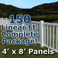 "150 ft Complete Solid PVC Vinyl Closed Top Picket Fencing Package - 4' x 8' Panels w/ 3"" Spacing"