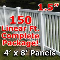 "150 ft Complete Solid PVC Vinyl Closed Top Picket Fencing Package - 4' x 8' Fence Panels w/ 1.5"" Spacing"