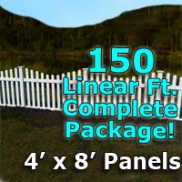 "150 ft Complete Solid PVC Vinyl Open Top Scallop Picket Fencing Package - 4' x 8' Fence Panels w/ 3"" Spacing"