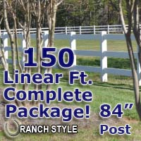 150 ft Complete Solid 3 Rail Ranch PVC Vinyl Fencing Package - Three Rail Fence