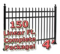 150 ft Complete Spear Top Residential Aluminum 4' High Fencing Package
