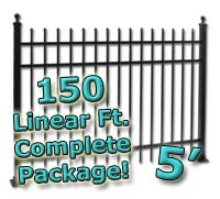 150 ft Complete Spear Top Residential Aluminum 5' High Fencing Package