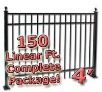 150 ft Complete Elegant Residential Aluminum 4' High Fencing Package