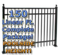 "150 ft Complete Elegant Residential Aluminum 54"" Pool Fencing Package"