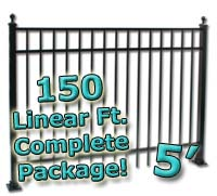 150 ft Complete Elegant Residential Aluminum 5' High Fencing Package