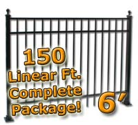 150 ft Complete Elegant Residential Aluminum 6' High Fencing Package
