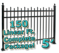 150 ft Complete Staggered Pickets Residential Aluminum 5' High Fencing Package