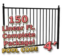 150 ft Complete Pool Code Residential Aluminum 4' High Fencing Package