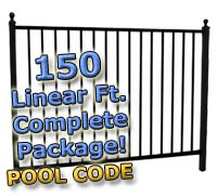 "150 ft Complete Pool Code Residential Aluminum 54"" High Fencing Package"