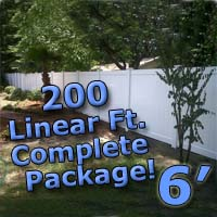 200 ft Complete Solid PVC Vinyl Privacy 6' Wide Fencing Package
