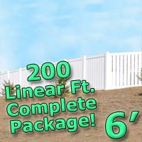 200 ft Complete Solid PVC Vinyl Semi-Privacy 6' Wide Fencing Package
