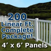 "200 ft Complete Solid PVC Vinyl Closed Top Picket Fencing Package - 4' x 6' Panels w/ 3"" Spacing"