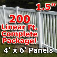 "200 ft Complete Solid PVC Vinyl Closed Top Picket Fencing Package - 4' x 6' Fence Panels w/ 1.5"" Spacing"