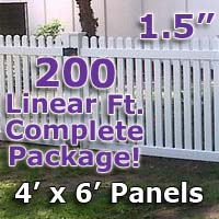 "200 ft Complete Solid PVC Vinyl Open Top Straight Picket Fencing Package - 4' x 6' Fence Panels w/ 1.5"" Spacing"