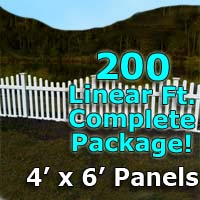 "200 ft Complete Solid PVC Vinyl Open Top Scallop Picket Fencing Package - 4' x 6' Fence Panels w/ 3"" Spacing"