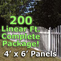 "200 ft Complete Solid PVC Vinyl Open Top Arched Picket Fencing Package - 4' x 6' Fence Panels w/ 3"" Spacing"