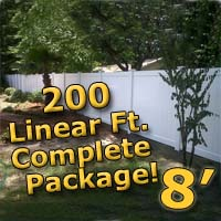 200 ft Complete Solid PVC Vinyl Privacy 8' Wide Fencing Package