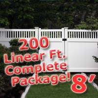 200 ft Complete Solid PVC Vinyl Privacy 8' Wide Fencing Package w/ Accent Top