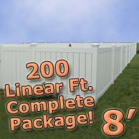 200 ft Complete Solid PVC Vinyl Semi-Privacy 8' Wide Fencing Package