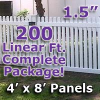 "200 ft Complete Solid PVC Vinyl Open Top Straight Picket Fencing Package - 4' x 8' Fence Panels w/ 1.5"" Spacing"