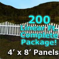 "200 ft Complete Solid PVC Vinyl Open Top Scallop Picket Fencing Package - 4' x 8' Fence Panels w/ 3"" Spacing"