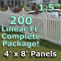 "200 ft Complete Solid PVC Vinyl Open Top Scallop Picket Fencing Package - 4' x 8' Fence Panels w/ 1.5"" Spacing"
