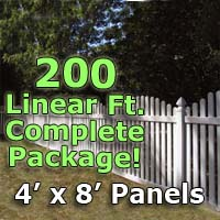 "200 ft Complete Solid PVC Vinyl Open Top Arched Picket Fencing Package - 4' x 8' Fence Panels w/ 3"" Spacing"