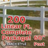 200 ft Complete Solid 2 Rail Ranch PVC Vinyl Fencing Package - Two Rail Fence
