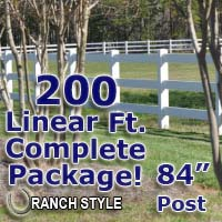 200 ft Complete Solid 3 Rail Ranch PVC Vinyl Fencing Package - Three Rail Fence