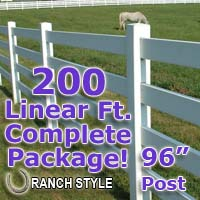 200 ft Complete Solid 4 Rail Ranch PVC Vinyl Fencing Package