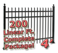 200 ft Complete Spear Top Residential Aluminum 4' High Fencing Package