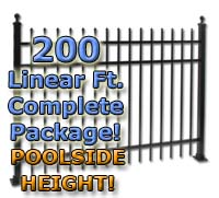 "200 ft Complete Spear Top Residential Aluminum 54"" Pool Fencing Package"