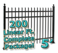 200 ft Complete Spear Top Residential Aluminum 5' High Fencing Package
