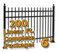 200 ft Complete Spear Top Residential Aluminum 6' High Fencing Package