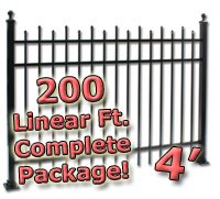 200 ft Complete Staggered Pickets Residential Aluminum 4' High Fencing Package