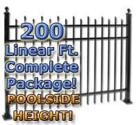 "200 ft Complete Staggered Pickets Residential Aluminum 54"" Pool Fencing Package"