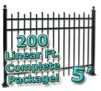 200 ft Complete Staggered Pickets Residential Aluminum 5' High Fencing Package