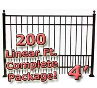 200 ft Complete Puppy Panel Residential Aluminum 4' High Fencing Package