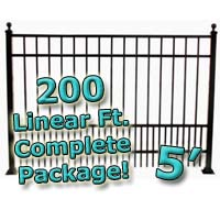 200 ft Complete Puppy Panel Residential Aluminum 5' High Fencing Package