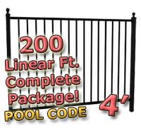 200 ft Complete Pool Code Residential Aluminum 4' High Fencing Package