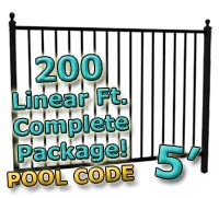 200 ft Complete Pool Code Residential Aluminum 5' High Fencing Package