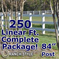 250 ft Complete Solid 3 Rail Ranch PVC Vinyl Fencing Package - Three Rail Fence