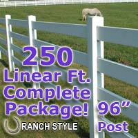 250 ft Complete Solid 4 Rail Ranch PVC Vinyl Fencing Package