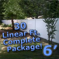 30 ft Complete Solid PVC Vinyl Privacy 6' Wide Fencing Package