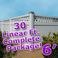 30 ft Complete Solid PVC Vinyl Privacy 6' Wide Fencing Package w/ Accent Top